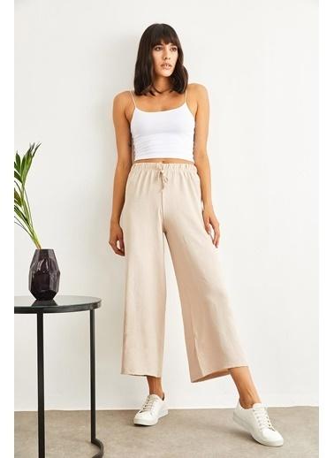 Sortee Kadın Beli Lastikli Bol Paça Pantolon Siyah
